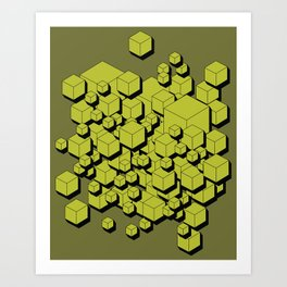 3D Futuristic Cubes V Art Print