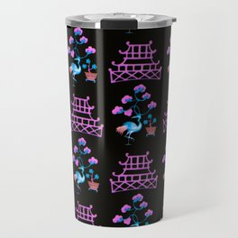 Asian Pagoda Garden Repeat in Rose and Onyx Travel Mug