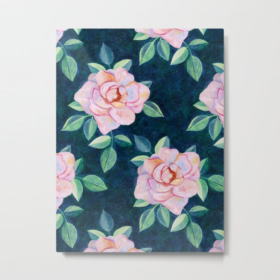 Simple Pink Rose Oil Painting Pattern Metal Print