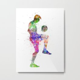 man soccer football player silhouette Metal Print