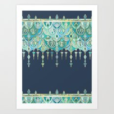 Art Deco Double Drop in Blues and Greens Art Print