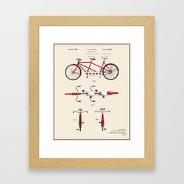 Tandem Bicycle Patent - Colour Framed Art Print