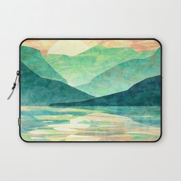 Spring Sunset over Emerald Mountain Landscape Painting Laptop Sleeve