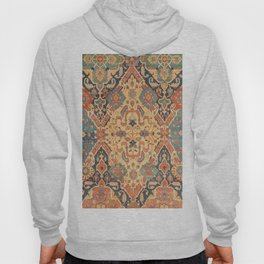 Geometric Leaves IX // 18th Century Distressed Red Blue Green Colorful Ornate Accent Rug Pattern Hoody