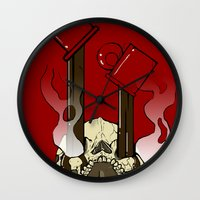 pocket fuel Wall Clocks featuring Skull Fuel by Allbrotnar