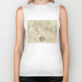 Vintage Map of The World (1780) 2 Biker Tank
