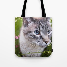 kitty in secret garden Tote Bag