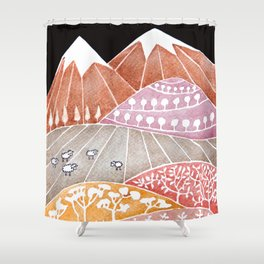 Tatry mountains, sheep watercolor landscape nature Shower Curtain