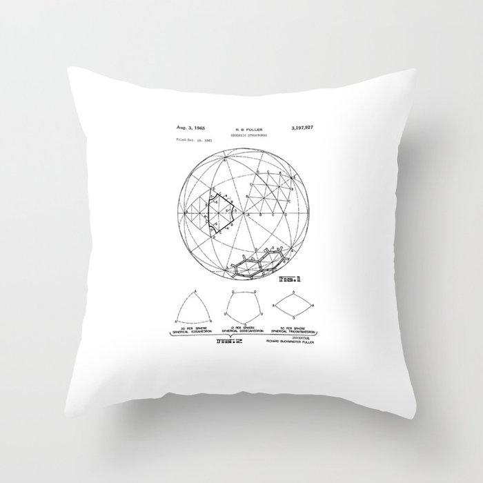 Buckminster Fuller 1961 Geodesic Structures Patent Throw Pillow
