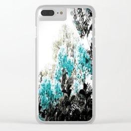 Turquoise & Gray Flowers Clear iPhone Case