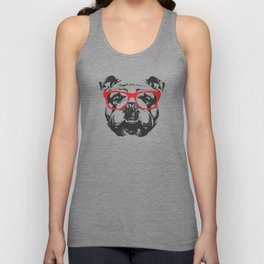 Portrait of English Bulldog with glasses. Unisex Tank Top