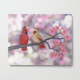 cardinals and crab apple blossoms Metal Print