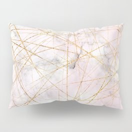 Gold and Pink Marble Crackle Pillow Sham