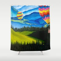 hot air balloons Shower Curtains featuring Acrylic Hot Air Balloons by Megan White