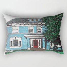 Blue house reduction linocut Rectangular Pillow