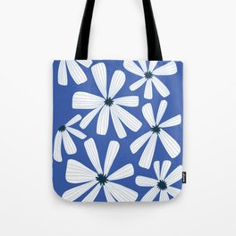 Retro Blooms Blue Tote Bag