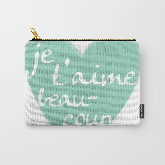 Je T'aime Beaucoup Mint Heart Carry-All Pouch