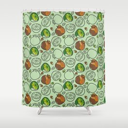 Citric Fruits vGreen Shower Curtain