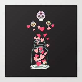 Sugar Skull Love Jar Canvas Print
