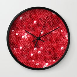 Faux Red Sequin Background Wall Clock