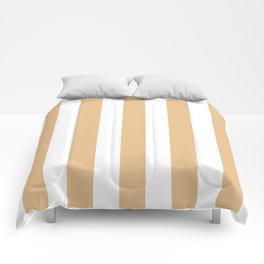 Gold (Crayola) pink - solid color - white vertical lines pattern Comforters