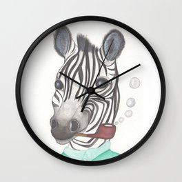 Spencer the Zebra, blowing bubbles Wall Clock