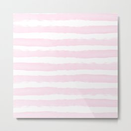 Pink handpainted stripes on clear white Metal Print