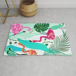 Tropical Flamingo Pattern Rug
