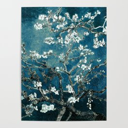 Van Gogh Almond Blossoms : Dark Teal Poster