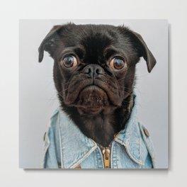 Cute Black Dog - Face Portrait Metal Print