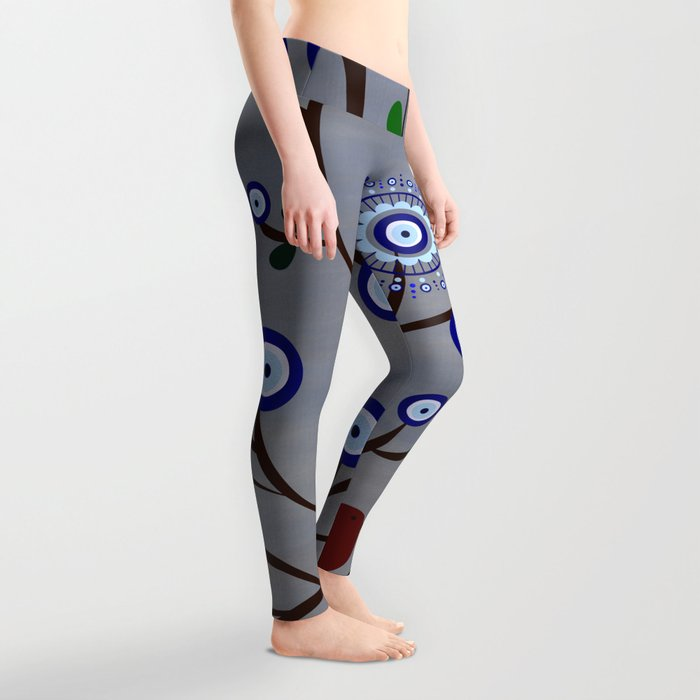 Lucky Evil Eye Bird Tree Leggings
