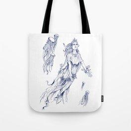Sea Posse III - Jellyfish, Navy Print Tote Bag