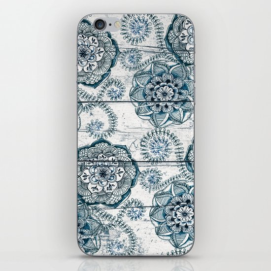 Navy Blue Floral Doodles on Wood iPhone & iPod Skin