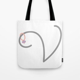V Initial with Stitch Mark Tote Bag