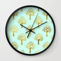 gold foil Wall Clocks featuring Mint Gold Foil 02 by Aloke Design