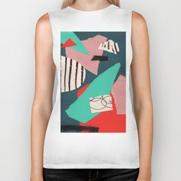 abstract paper collage Biker Tank