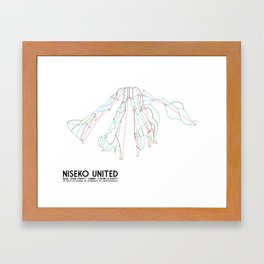 Niseko United, Japan - North American Edition - Minimalist Trail Art Framed Art Print