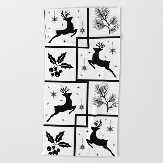 Christmas black and white pattern. Beach Towel