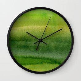 Spring Greens Abstract Watercolor Horizontal Pattern Wall Clock