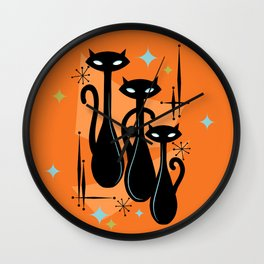 Effervescent Orange Atomic Age Black Kitschy Cat Trio Wall Clock