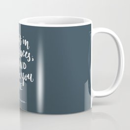 I exist in two places. Margaret Atwood quote. Hand Lettering. Coffee Mug