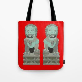Lion Statues Tote Bag