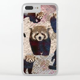 Red Panda Abstract  mixed media digital art collage Clear iPhone Case
