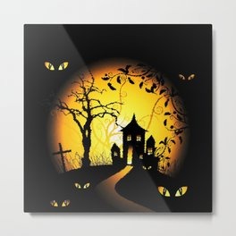 Halloween Castle Nightmare Metal Print