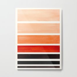 Burnt Sienna Minimalist Mid Century Modern Color Fields Ombre Watercolor Staggered Squares Metal Print