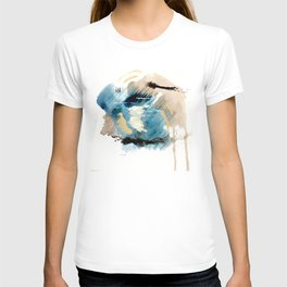 You are an Ocean - abstract India Ink & Acrylic in blue, gray, brown, black and white T-shirt