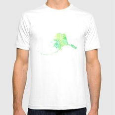 Typographic Alaska - Green Watercolor print White Mens Fitted Tee MEDIUM