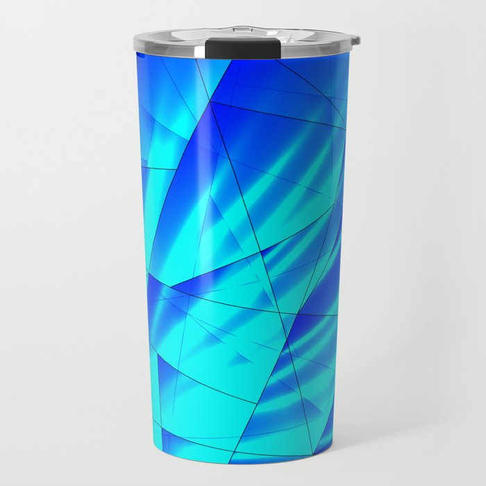 Bright sunshine on celestial and blue triangles of irregular shape. Travel Mug