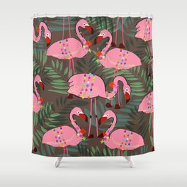 Flamingo With Flowers and Ornate Tropical Pattern Shower Curtain