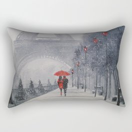 Paris in the snow Rectangular Pillow